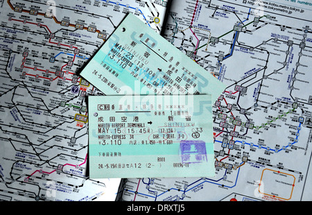 train ticket on the JR train network map - Stock Photo