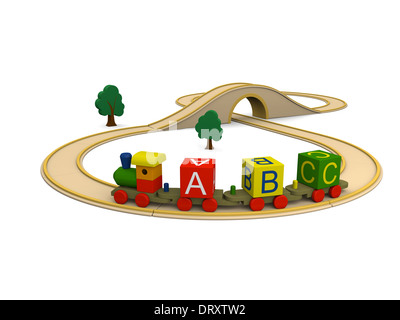 3D illustration of colorful wooden toy train carrying alphabet letters - Stock Photo