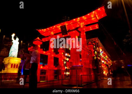CHIANGMAI-AUGUST 27 : 'Lantern Red Gate' at Thailand International Lantern Festival on August 27, 2013 in Chiang - Stock Photo