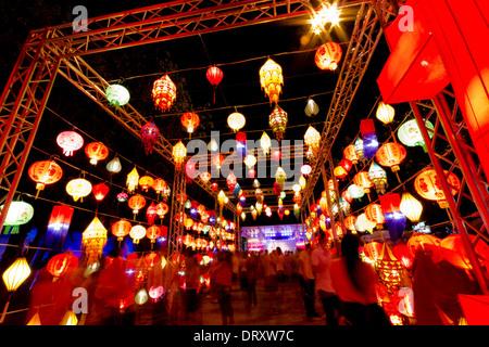CHIANGMAI-AUGUST 27 : 'Lantern Tunnel' at Thailand International Lantern Festival on August 27, 2013 in Chiang Mai. - Stock Photo
