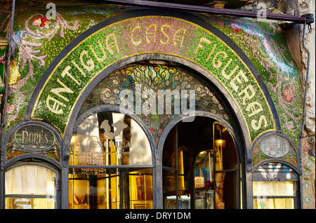 Antigua Casa Figueras facade, Las Ramblas. Barcelona. Catalonia. Spain - Stock Photo