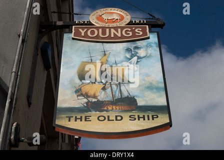 pub sign for the old ship, richmond upon thames, surrey, england - Stock Photo