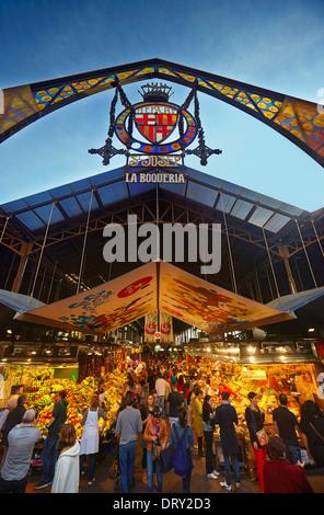 La Boqueria Market (Mercat de Sant Josep de la Boquería) at La Rambla. Barcelona. Catalonia. Spain - Stock Photo