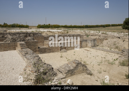Spain. Italica. Roman city founded c. 206 BC. Thermae, Large Baths. Near Santiponce. Ruins. Andalusia. - Stock Photo
