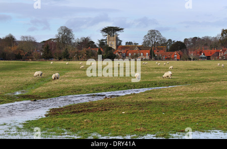 A Rural Landscape in the Chiltern Hills in England with grazing sheep and the village of Hambleden - Stock Photo
