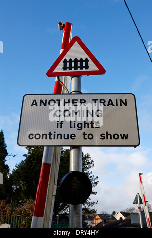 small pedestrian local level crossing warning signs dunmurry belfast uk - Stock Photo
