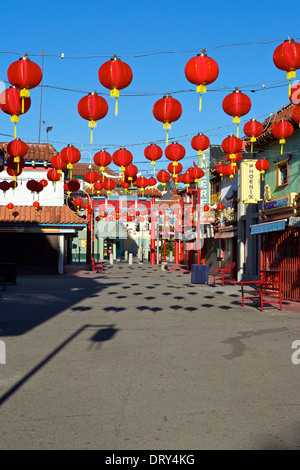 Chinese Paper Lanterns Over The Old Chinatown Central Plaza, Los Angeles. - Stock Photo