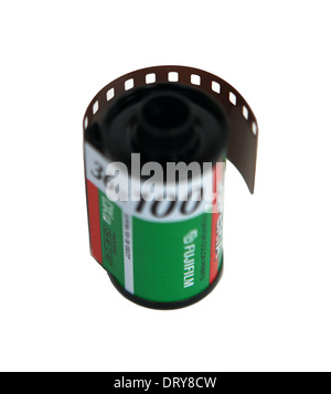 Roll of camera film by Fuji on a white background - Stock Photo