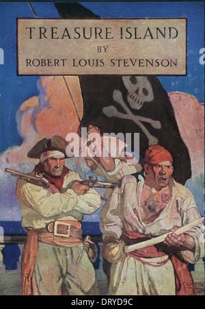 Treasure Island by Robert Louis Stevenson book cover - Stock Photo