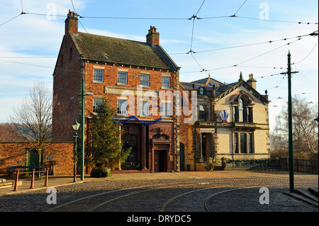 The Bank and Masonic Hall - Beamish Open Air Museum, County Durham, England - Stock Photo