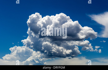 White puffy cumulous clouds against clear azure blue Colorado sky - Stock Photo