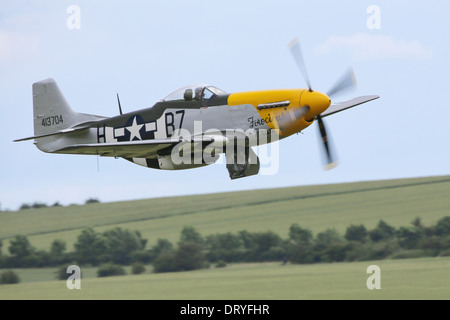 Preserved North American P51-D Mustang 'Ferocious Frankie' fighter aircraft flying at the UK 2012 Flying Legends - Stock Photo