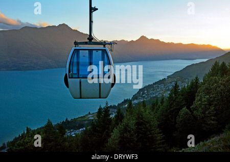 Skyline Gondola Cable Car in Queenstown, New Zealand - Stock Photo