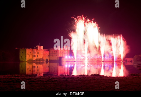 The annual fireworks spectacular display at Leeds Castle, Kent. - Stock Photo