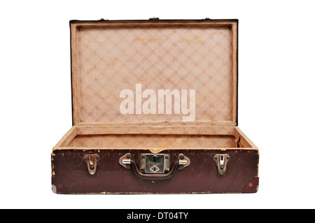open antique suitcase on a white background - Stock Photo