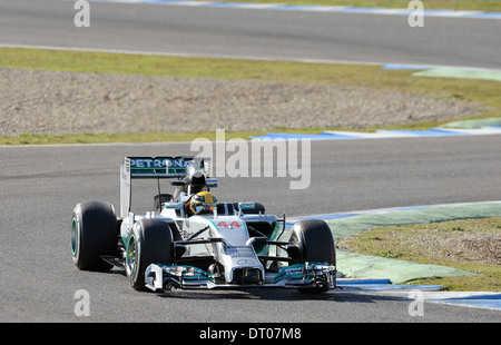 Lewis Hamilton (GBR), Mercedes F1 W05 during Formula One Tests, Jerez, Spain Feb.2014 - Stock Photo