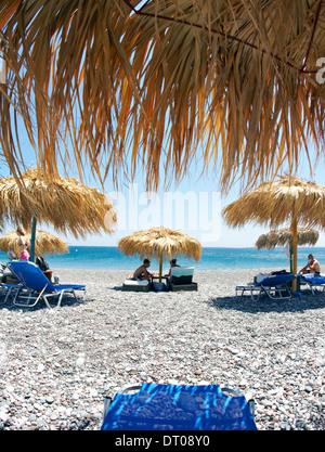 Sun Shade Mojito Beach Rhodes Greek Islands Greece - Stock Photo