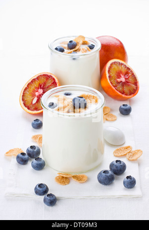 Portion of yogurt with berries and red oranges on background - Stock Photo