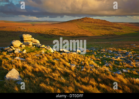 Rocks on Rough Tor at sunset, on Bodmin Moor, near Camelford, Cornwall, Great Britain. - Stock Photo