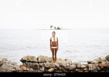 Samana Peninsula Dominican Republic. young woman Samana Peninsula Dominican Republic - Stock Photo