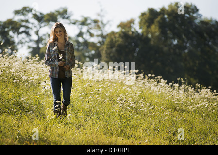 Woodstock New York USA young woman walking in wild flower meadow - Stock Photo