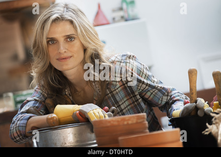 person working with clay stock photo royalty free image 15718737 alamy. Black Bedroom Furniture Sets. Home Design Ideas