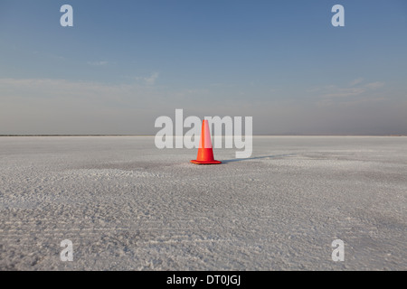 Bonneville Salt Flats Utah USA Traffic cone track marker on Bonneville Salt Flat - Stock Photo