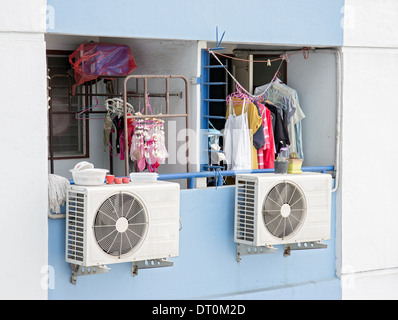air conditioning on balcony - Stock Photo