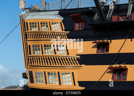 starboard side stern of lord nelsons flagship HMS Victory showing window detail - Stock Photo