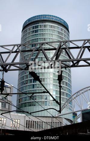 The Rotunda seen from New Street Station, Birmingham, UK - Stock Photo
