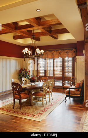 The formal dining room in an upscale residence, - Stock Photo