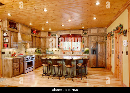 The kitchen in a modern log cabin