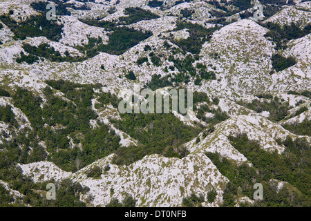 Bird's eye view of scenic hilltops in Biokovo nature park on Dalmatian coast near Makarska Riviera in Croatia - Stock Photo