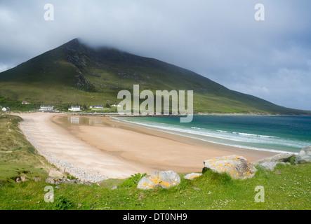 Doogort Strand beach with Slievemore mountain behind Achill Island County Mayo Eire Republic of Ireland - Stock Photo