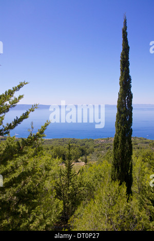 Scenic view of Dalmatian coast on Makarska Riviera in Croatia - Stock Photo