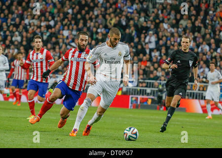Madrid, Spain. 5th Feb, 2014. Benzema (Real Madrid) during the Spanish King's Cup Semifinal, between Real Madrid - Stock Photo
