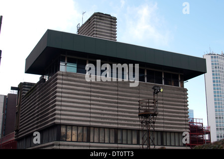 brutalist concrete architecture of new street station signal box in stock photo royalty free. Black Bedroom Furniture Sets. Home Design Ideas