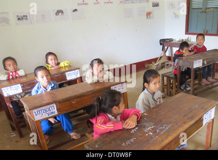 LAOS Secondary school pupils in northern Laos. Photo Tony Gale - Stock Photo