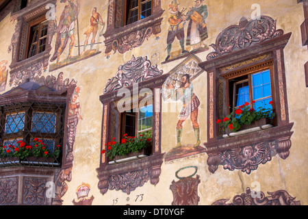 Gasthof Stern 16th Century hotel in Kirchweg, built 1573, in the old part of the town of Oetz in the Tyrol, Austria - Stock Photo