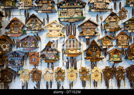 warnemunde rostock germany traditional cuckoo clocks on sale in shop in the town of seefeld in the tyrol