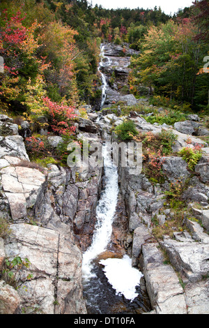A long waterfall called the Silver Cascade plunges down rocky Mt. Jackson, state highway 302, Highland Center, New - Stock Photo