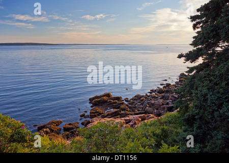 Coast of Mt. Desert Island, Maine, at sunset - Stock Photo