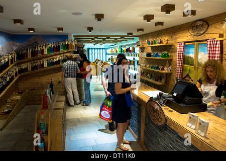 Tirol Geniessen shop selling schnapps and liquors at Hofgasse street in Innsbruck in the Tyrol, Austria - Stock Photo