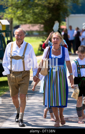 Senior couple in costume for traditional beer festival in the village of Klais in Bavaria, Germany - Stock Photo