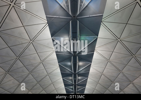 Ceiling in a concourse of the passenger terminal of Hong Kong International Airport, China. - Stock Photo