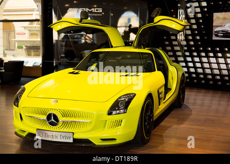 AMG SLS Coupe Electric Drive motor car on display at AMG Mercedes gallery showroom in Odeonsplatz, Munich, Bavaria, - Stock Photo