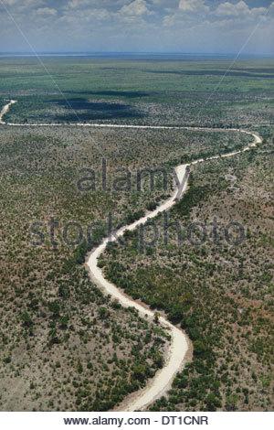 Makgadikgadi Pans Botswana Dry river bed aerial Makgadikgadi Pans Botswana - Stock Photo
