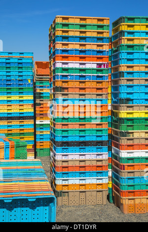 Washington State USA Stacks multi-colored containers for grape harvest - Stock Photo