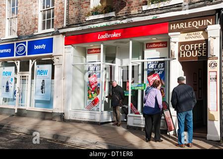 Ladbrokes betting shop York North Yorkshire England UK United Kingdom GB Great Britain - Stock Photo