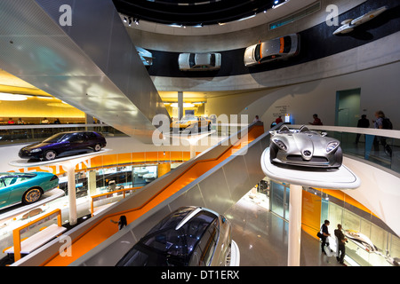 Mercedes-Benz concept cars in museum gallery in Stuttgart, Bavaria, Germany F400 Carving V6 from 2001 (silver), - Stock Photo